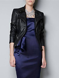 Women's Going out Street chic Spring / Fall Jackets,Solid Stand Long Sleeve Black PU Medium