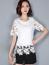 2016 Summer Women New Casual Openwork Lace Shirt