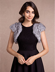 Women's Wrap Vests Sleeveless Faux Fur Black / Ivory / Gray Wedding / Party/Evening / Casual V-neck 36cm Open Front