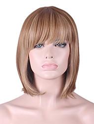 más vendido de Europa y los Estados Unidos peluca marrón de oro teñido de poliéster explosión aseada peluca bobo de 10 pulgadas