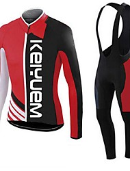 KEIYUEM®Spring/Summer/Autumn Long Sleeve Cycling Jersey+long Bib Tights Ropa Ciclismo Cycling Clothing Suits #L39