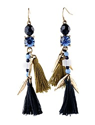 European Luxury Gem Geometric Earrrings Long Vintage Tassel Drop Earrings for Women Fashion Jewelry Best Gift