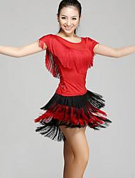 Dança Latina Roupa Mulheres Apresentação Náilon Chinês 2 Peças Manga Curta Natural Blusa Saia