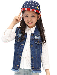 Girl's Cotton Spring/Fall Fashion Broken Hole Blue Cowboy Waistcoat