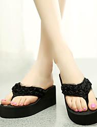 Damen-Slippers & Flip-Flops-Lässig-Polyester-Keilabsatz-Flip - Flops-Schwarz / Grün / Rosa / Rot / Beige