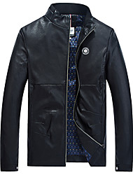 Men's Long Sleeve Casual / Sport JacketPU / Polyester Solid Black / Blue / Red