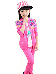 Girl's Sports Casual/Daily Floral Stitching Clothing Set(Coat & Pants)