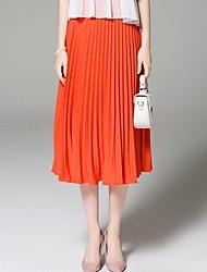 faldas sólido de color naranja, calle midi elegante ángel de las mujeres