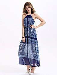 Women's Casual/Daily Simple A Line Dress,Geometric Halter Maxi Sleeveless Blue Silk / Polyester All Seasons