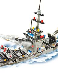 Blocos de Construir para presente Blocos de Construir Modelo e Blocos de Construção Barco de Guerra Plástico acima de 6 Cáqui Brinquedos