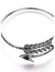 Alloy Arrow Natural Stone Gem Adjustable Cuff Bangle Bracelet