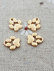 20Pcs Dog Puppy Footprint Pet Paw Print Bead Charm Dangle Necklace Pendant (9*11mm)