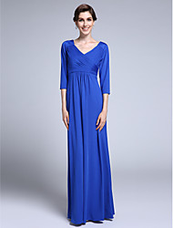 Lanting Bride® Sheath / Column Mother of the Bride Dress 3/4 Length Sleeve Chiffon with Criss Cross