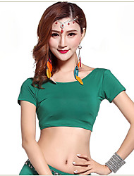 Belly Dance Tops Women's Performance Spandex Criss-Cross 1 Piece Black / Green / Red Belly Dance Short Sleeve High Top