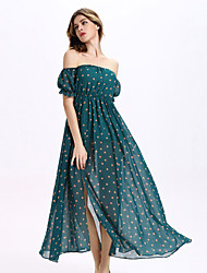 Women's Party/Cocktail / Club Sexy A Line / Chiffon Dress,Polka Dot Boat Neck Maxi Short Sleeve Green Cotton