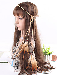 Women's Simple Bohemia Fabric Feather Pendant Weave Headbands 1 Piece