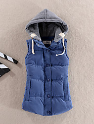 Women's Regular Down Coat,Simple Sports Casual/Daily Solid Patchwork-Cotton Polyester Polypropylene Sleeveless Hooded