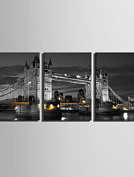 E-HOME® Stretched Canvas Art European City Night View Decoration Painting  Set Of 3