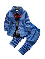 Мальчик Набор одежды,На каждый день,С принтом,Хлопок,Осень,Синий / Коричневый / Красный