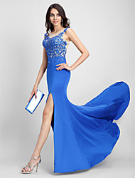 Mermaid / Trumpet Scoop Neck Sweep / Brush Train Tulle Jersey Formal Evening Dress with Appliques by TS Couture®
