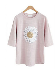 Women's Casual/Daily Simple Summer T-shirt,Patchwork Round Neck ¾ Sleeve Blue / Pink Cotton Opaque
