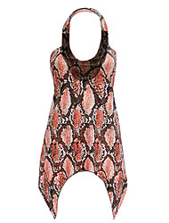 Women's Print Red T-shirt,Halter Sleeveless Print Randomly