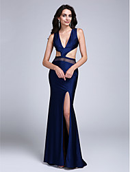 2017 Formal Evening Dress Sheath / Column V-neck Sweep / Brush Train Jersey with Split Front