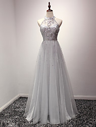 A-Line Jewel Neck Floor Length Organza Prom Dress with Crystal