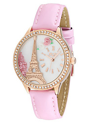 Women's Luxury Fashion Tower Crystal Leather Band Quartz Watch