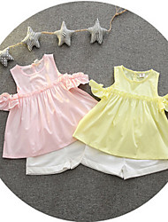 Girl's Casual/Daily Solid Dress / Shorts,Cotton Summer Pink / White / Yellow
