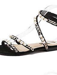 Women's Shoes PU Summer Open Toe / Flats Sandals Outdoor / Office & Career Flat Heel Others Black / Pink