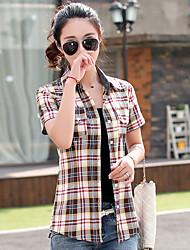 Women's Casual/Daily Simple Summer Shirt,Color Block Shirt Collar Short Sleeve Cotton Thin