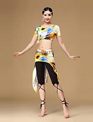 Dança do Ventre Roupa Mulheres Treino Raiom / Fibra de Leite Cristal/Strass / Padrão/Estampado 3 Peças Manga Curta CaídoCalças / Saia /