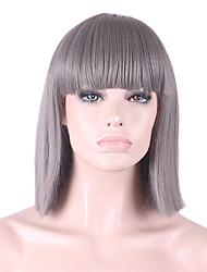 best-seller de l'Europe et les États-Unis cos perruque grise Bang soignée bobo perruque 12 pouces