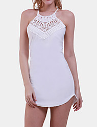 Holiday Bodycon Dress,Solid Round Neck / Crew Neck Above Knee Sleeveless White Cotton Summer Inelastic Medium
