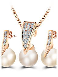 Fashion Imitation Pearl Jewelry Sets Rhinestone Gold Plated Necklace Sets for Women Bridal Wedding Water Drop Earrings