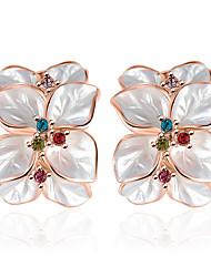 Moda Jóias de Luxo Strass Rosa Folheado a Ouro imitação de diamante Liga Formato de Flor Trevo-de-quatro-folhas Branco Jóias Para