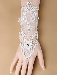 Wrist Length Fingerless Glove  / Spandex Bridal Gloves / Party/ Evening Gloves Spring / Summer / White Beading
