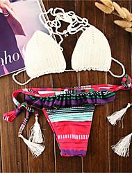 Bikinis Aux femmes Rubans A Bretelles Polyester