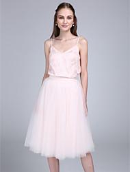 Lanting Bride® Mi-long Dentelle Tulle Robe de Demoiselle d'Honneur - Trapèze Bretelles Fines avec Dentelle