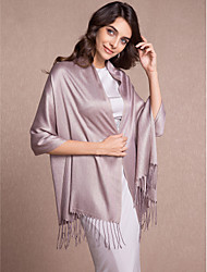 Women's Wrap Shawls Sleeveless Cotton Black / Gray / Coffee Wedding / Party/Evening / Casual Tassels Open Front