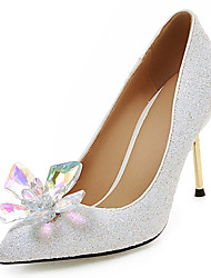 Wedding Shoes-Saltos-Saltos / Inovador / Modelos / Bico Fino-Preto / Rosa / Branco / Prateado / Dourado-Feminino / Para Meninas-Casamento