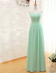 Floor-length Chiffon Bridesmaid Dress - Sheath / Column Sweetheart with Criss Cross