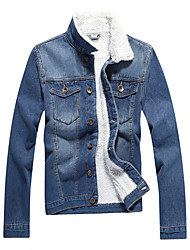 Spring and Autumn New Korean men with thickened cashmere denim jacket slim casual denim jacket youth retro tide