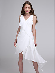 Lanting Bride® Asymmetrical Chiffon Bridesmaid Dress A-line V-neck with