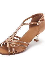 Non Customizable Women's Dance Shoes Leather Leather Latin Heels Stiletto Heel Beginner / Professional Black / Gold