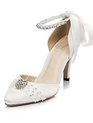 Women's Spring / Summer / Fall / Winter Heels Satin Wedding / Dress / Party & Evening Stiletto Heel Rhinestone / Bowknot Ivory / White