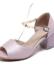 Women's Shoes Leatherette Chunky Heel Heels Sandals Wedding / Party & Evening / Dress / Casual Pink / Purple