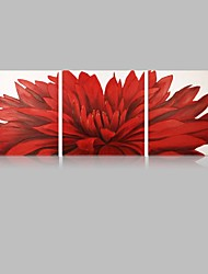 IARTS Floral Paintings Wall Art Red Color Stretchered Ready to Hang Size  40*40*3pcs cm (16''X16''*3) inch