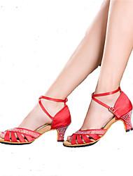 Customizable Women's Dance Shoes Latin / Samba Sparkling Glitter Cuban Heel Black / Blue / Red